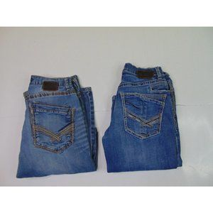 Lot of 2 BKE Men 30S  Tyler Jake Bootleg Blue Jeans Dark Denim Stretch Buckle
